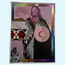 Stan Natchez, Portrait of Crazy Horse Large Pop Art Oil Painting