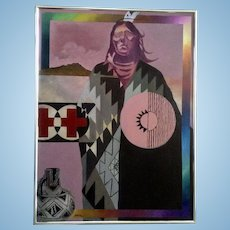 Stan Natchez, Portrait of Crazy Horse Large Pop Art Oil Painting On Canvas Signed by Santa Fe New Mexico Listed Artist