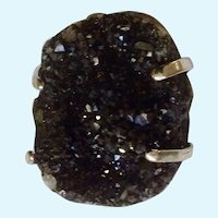 Geode Natural Stone Black Druzy Crystals Silver-tone Ring Rough Cut