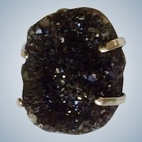 Gorgeous Geode Natural Stone Black Druzy Crystals Silver-tone Ring Rough Cut Adjustable Size  Approximately 7-8 Ring Size