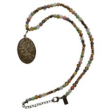 Rachel Silver-tone Floral Mixed Colored Beaded Necklace