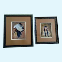 Jeana, Native American Indian Chief and Squaw Portrait Oil Painting