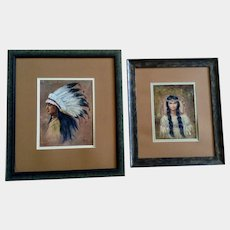 Native American Indian Chief and Squaw Portrait Oil Painting On Canvas Signed By Artist Jeana