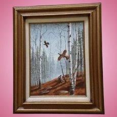 Miriam Deborah Martin Jersig (1920-2013), Pheasant Birds Flying Through An Aspen Forest, Landscape Oil Painting  Signed By Texas Artist
