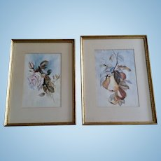 Roses and Pear Still Life Watercolor Paintings Monogrammed By Artist KWG 1925