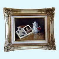 G Gillson, Still Life Photo Realism Oil Painting Of Picture Book and Glass of Wine Signed By Artist