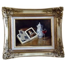 G Gillson, Book and Wine Still Life Photo Realism Oil Painting