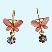 Joan Rivers Gold-tone Pink Butterfly Lever-back Earrings with Beautiful Aurora Borealis Crystal Flower Charms