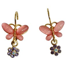 Joan Rivers Gold-tone Pink Butterfly Lever-back Earringswith Beautiful Aurora Borealis Crystal Flower Charms