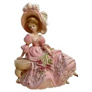Vintage Josef Originals Girl Garden Tryst Love Makes The World Go Round Figurine Lady in Pink Dress with Feather Plume Hat