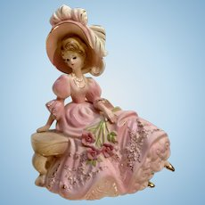 Vintage Josef Originals Girl Love Makes The World Go Round Figurine Lady in Pink Dress with Feather Plume Hat