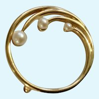 Monet Gold-Tone Circle With Faux Pearl Beads Brooch Pin Costume Jewelry 1-1/4""