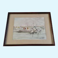 Phyllis Boniface, Lobster Dock Watercolor Painting
