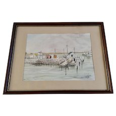 Phyllis Boniface, Lobster Dock Watercolor Painting Signed By Artist 1983