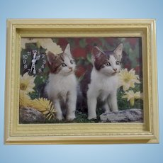 1960-1970's 3D Dimensional Kitten Cat Wall Diorama Art Frame Clock Made in Italy by Albatros