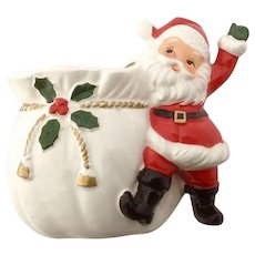 Vintage Santa and His Magic Toy Bag Of Presents Ceramic Planter Vase