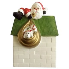 Vintage Fitz and Floyd Santa Climbing Out of a Chimney With his Bag of Toys Planter Vase