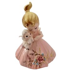 Vintage Josef Originals Pink Girl Holding A Lamb Ceramic Figurine