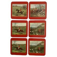 Vintage English Fox Hunt Coasters Sheraton Henry Thomas Alken Hunt Guardsman GM/4 Set of Six Made in England