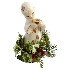 Mid-Century Poinsettia Girl Christmas Candle Holder Ceramic Figurine With Silk Holly Berry Garnish