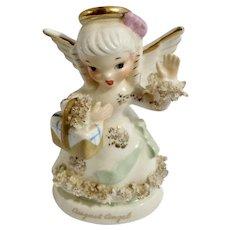 Vintage Napco August Birthday Angel Spaghetti Trim Ceramic Japan Figurine S1368