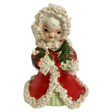 Vintage Napco Spaghetti Trim Christmas Angel Girl Holding Tree and Wreath In Red Coat Ceramic Figurine