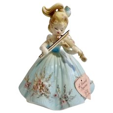 Vintage Josef Original Girl Playing Violin Music Box Porcelain Figurine Plays Fascination Waltz