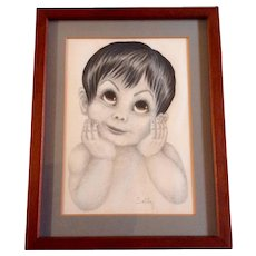 Big Eye Boy, Cute Original Colored Pencil Works on Paper, Signed by Artist Sally, Keane Era 1970's