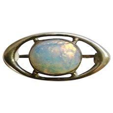 Beautiful Vintage Faux Opal Sterling Silver Eye Brooch Pin