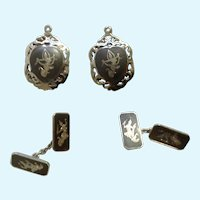 Siam Nielloware Nakon Sterling Silver 925 Cufflinks and Pendants Thai Dancers