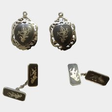 Vintage Siam Nielloware Nakon Sterling Silver 925 Button Hole Cufflinks and Pendants Thai Dancers Made in Thailand