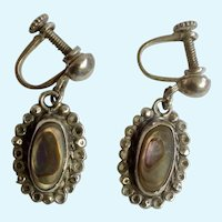 Vintage Mother of Pearl Center On Sterling Silver Filagree Screw-Back Earrings