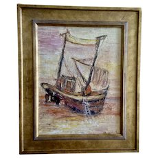 Pampion Fishing Boat on a Beach Impasto Oil Painting Signed By Artist