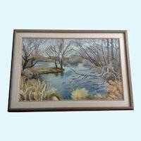 Jon Baitlon, Impressionist View of a Pond Landscape Oil Painting
