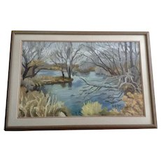 Jon Baitlon, Large Impressionist View of a Pond Landscape Oil Painting On Board Signed by Artist