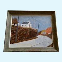Jack Phillips, Primitive Folk Art Church Acrylic Landscape Painting