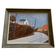 Jack Phillips, Primitive Folk Art Church On A Hill Acrylic Landscape Painting on Paper Signed By Artist