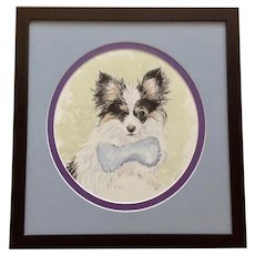 M. Phillips, Papillon Puppy Dog Watercolor Painting Works On Paper Signed By Artist