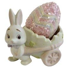 Lefton 1984 Easter Bunny With Egg Cart Signed Geo Z Lefton Figurine
