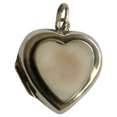 Polished Shell and Sterling Silver 925 Heart Locket Pendant