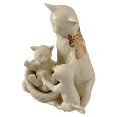 Lenox China Jewels Collection Cat Titled, Kittens Kapers Cats in Basket Fine Porcelain Figurine