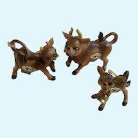 Vintage Josef Originals Bull Cow Calf Family Ceramic Figurines