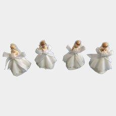 Vintage Bride Cake Toppers Cupcake Picks Heart Shaped Bottom Hong Kong Plastic Figurines