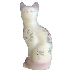 Fenton Satin Glass Kitty Cat Figurine Pink Pastel Hand Painted Flowers S Davis