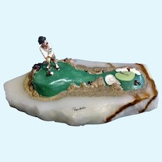 Ron Lee Clown Golfing Putting Green Golf Course Sculpture on Quartz Stone Early Limited Edition 1986
