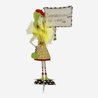 Eccentric Dolly Mama's Metal Sign, 'Congratulations! Get a What?!' Standing Woman