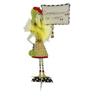 Dolly Mama's Metal Sign, 'Congratulations! Get a What?!' Standing Eccentric Woman