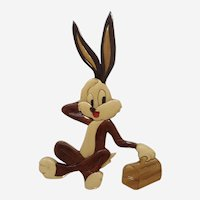 Bugs Bunny Wood Wall Plaque Marquetry Lacquer Glossy Finish Art