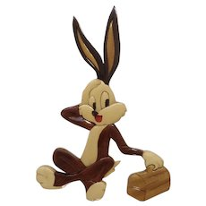 Vintage Bugs Bunny Rabbit Marquetry Lacquer Glossy Finish Wooden Wall Art