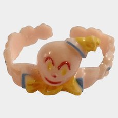 Vintage Pink to Peach Clown Baby Bracelet Early Plastic Toy